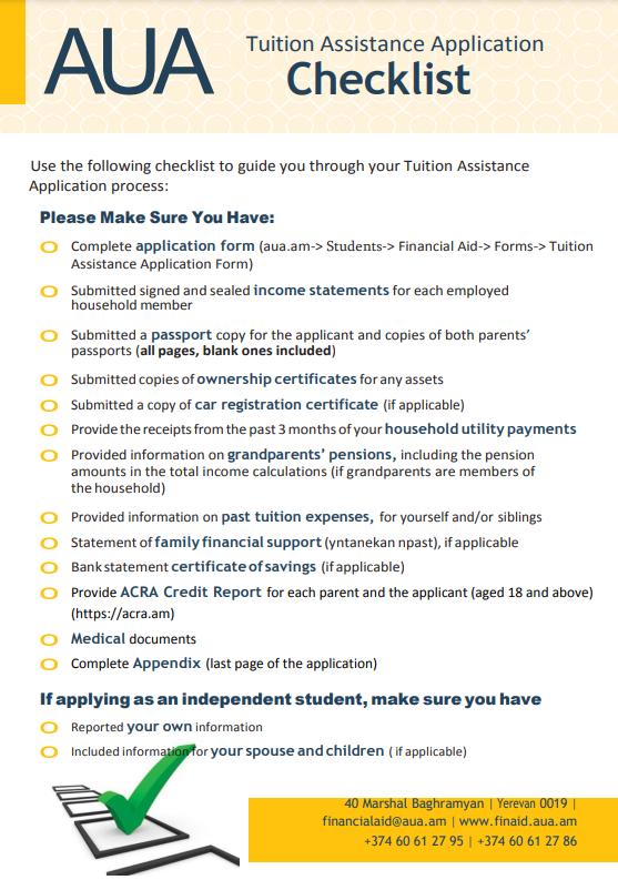 Fin Aid Checklist